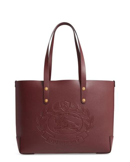 Burberry - Multicolor Embossed Crest Small Leather Tote - - Lyst f2a94bd2aa2e8