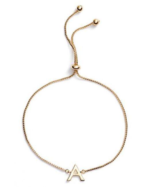 Argento Vivo - Metallic Gold Initial Bracelet - Lyst