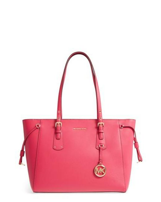 Michael Kors | Pink Michael Voyager Leather Tote | Lyst