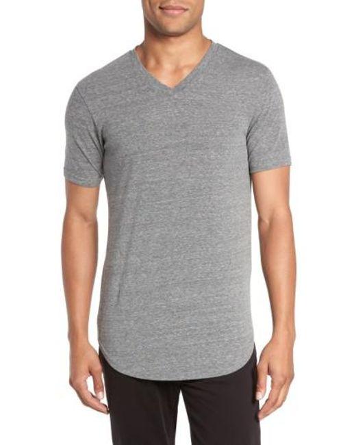 Goodlife | Gray Scalloped Hem V-neck T-shirt for Men | Lyst
