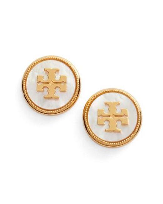 Tory Burch - Metallic Semiprecious Stone Stud Earrings - Lyst