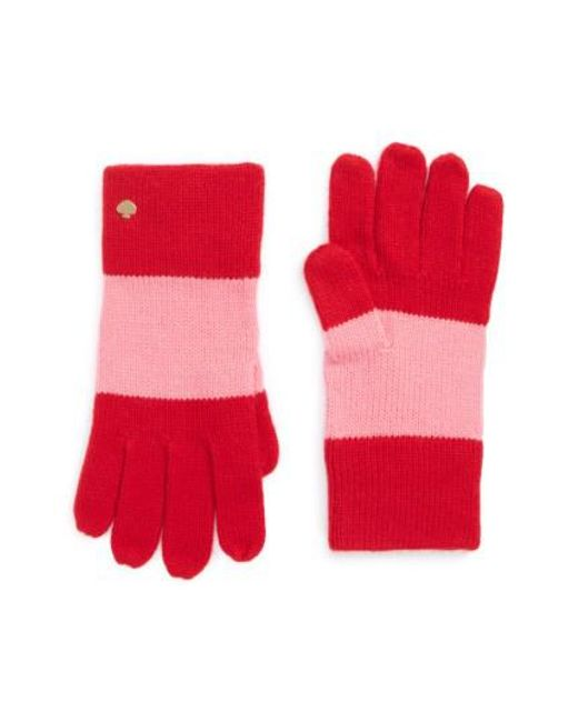 Kate Spade | Red Colorblock Knit Gloves | Lyst