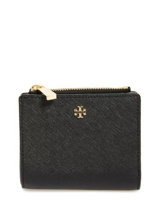 Tory Burch - Black 'mini Robinson' Leather Wallet - Lyst