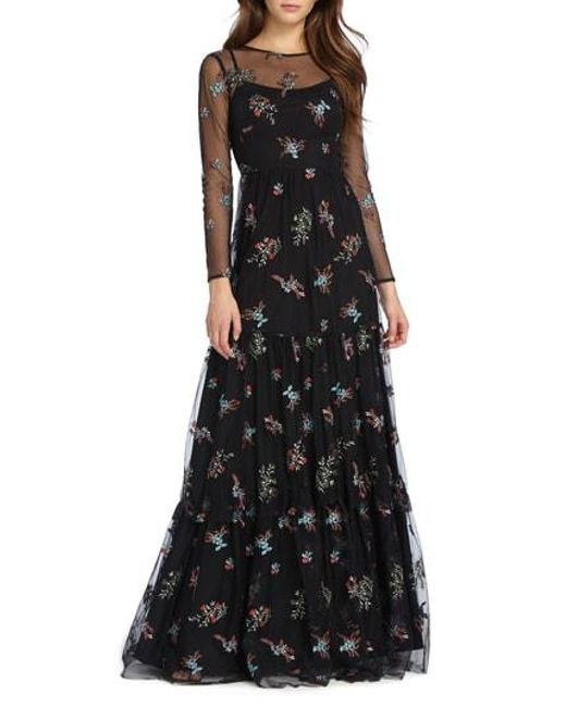 ML Monique Lhuillier - Black Embroidered Mesh Gown - Lyst