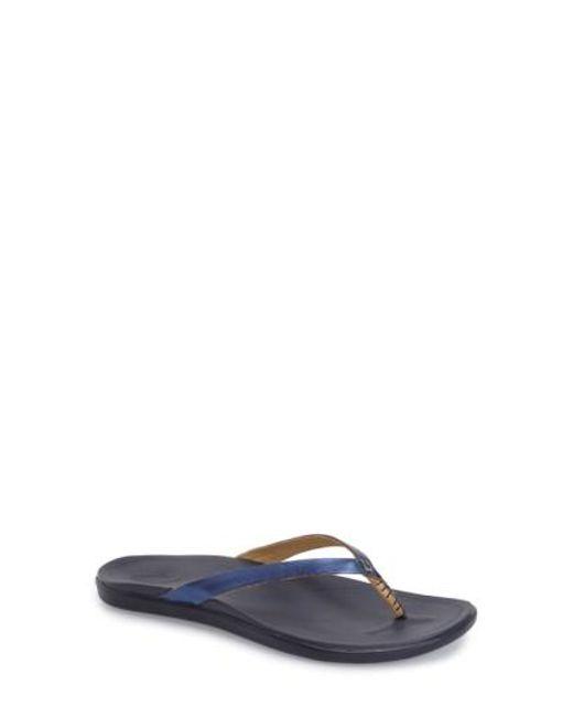 Olukai | Blue 'ho Opio' Leather Flip Flop for Men | Lyst