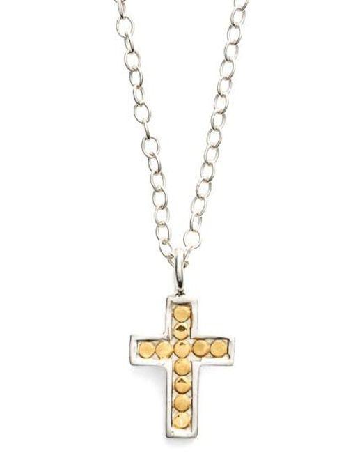 Anna Beck | Metallic 'gili' Reversible Mini Cross Necklace | Lyst