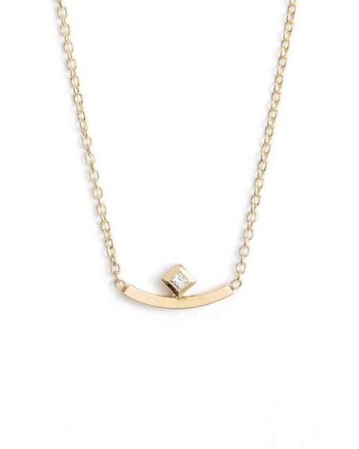 Zoe Chicco - Metallic Diamond Curved Bar Necklace - Lyst