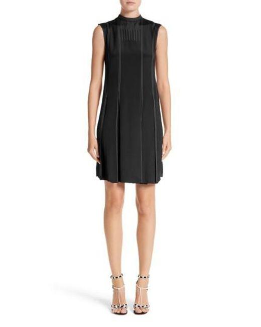 Valentino - Black Contrast Stitch Silk Shift Dress - Lyst