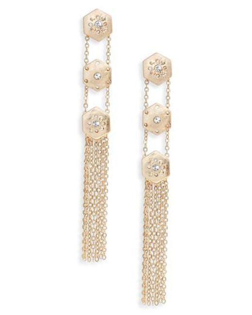 Treasure & Bond - Metallic Crystal Fringe Linear Drop Earrings - Lyst