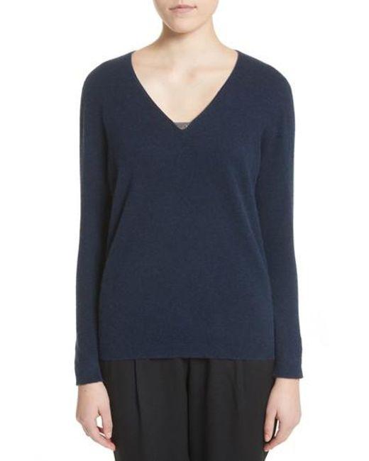 Fabiana Filippi   Blue V-neck Cashmere Sweater   Lyst