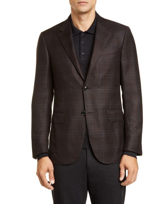 Ermenegildo Zegna Brown Ermenegildo Zenga Milano Easy Classic Fit Plaid Wool Sport Coat for men