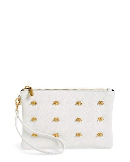 Sondra Roberts - White Bee Faux Leather Wristlet - Lyst
