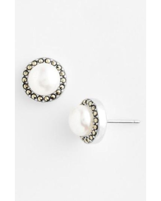 Judith Jack   Metallic Freshwater Pearl Stud Earrings   Lyst