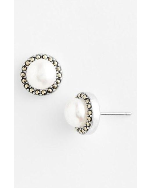 Judith Jack | Metallic Freshwater Pearl Stud Earrings | Lyst