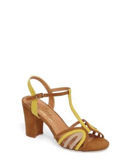 Callisto | Brown Carma T-strap Sandal | Lyst
