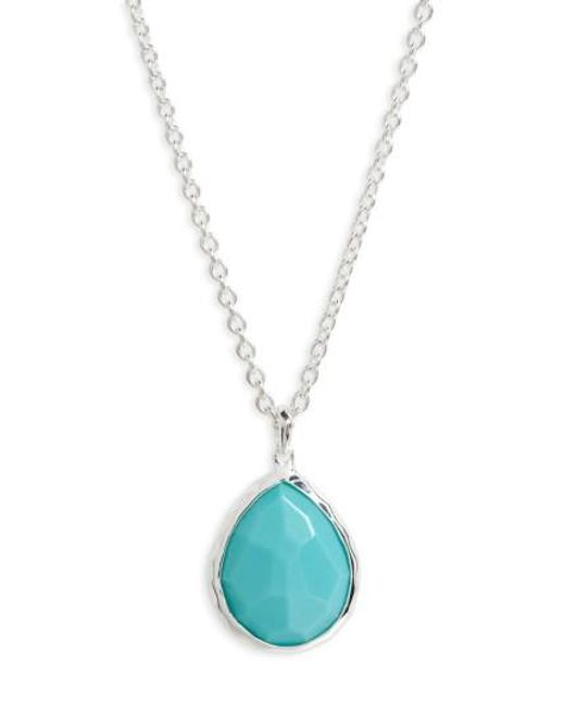 Ippolita | Blue 'wonderland' Mini Teardrop Pendant Necklace - Sterling Silver/ Turquoise (online Only) | Lyst