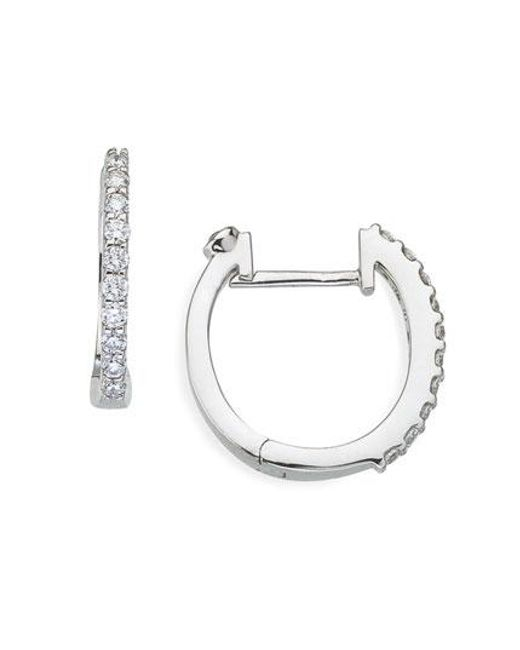 Roberto Coin | White Small Diamond Hoop Earrings | Lyst