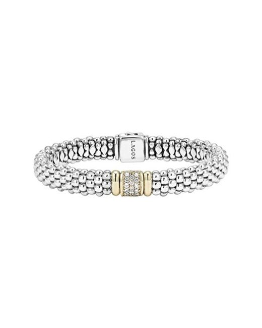 Lagos | Metallic Diamond & Caviar Station Bracelet | Lyst