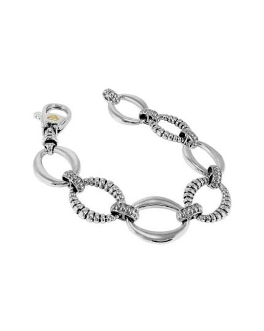 Lagos | Metallic Smooth And Fluted Oval Link Bracelet | Lyst