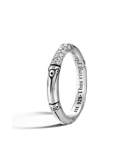 John Hardy   Metallic 'bamboo' Pave Diamond Ring   Lyst