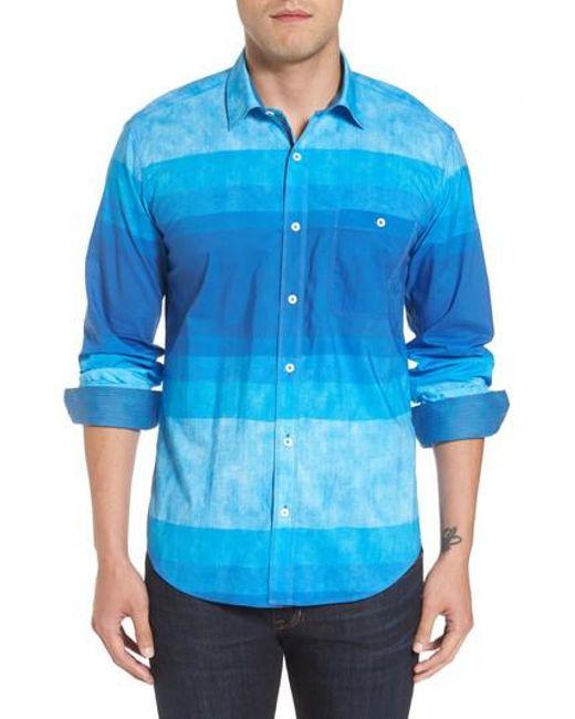 Bugatchi   Blue Shaped Fit Colorblock Sport Shirt for Men   Lyst