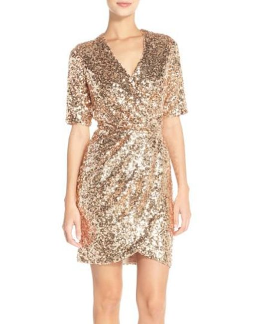 French Connection | Metallic Sequin Mesh Faux Wrap Dress | Lyst