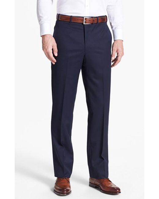 JB Britches   Blue Flat Front Worsted Wool Trousers for Men   Lyst