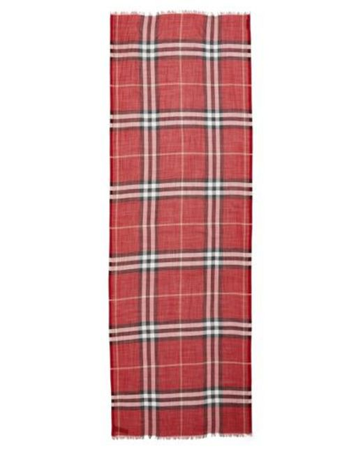 Burberry | Red Giant Check Print Wool & Silk Scarf | Lyst