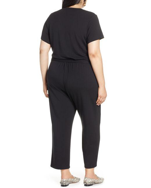 4da514ca1ff ... Halogen - Black Halogen Faux Wrap Knit Jumpsuit - Lyst