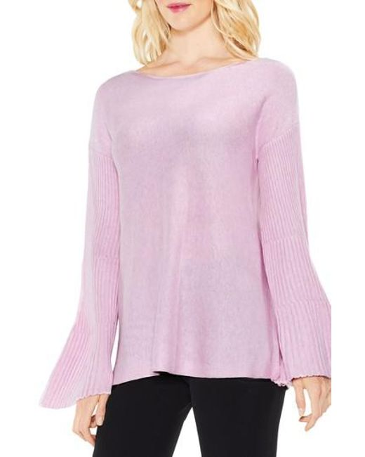 Vince Camuto | Pink Bell Sleeve Ribbed Sweater | Lyst