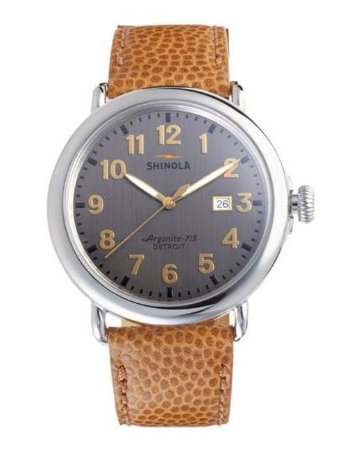 Shinola - Metallic Runwell Leather Strap Watch - Lyst