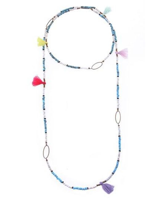 Nakamol - Blue Long Beaded Tassel Necklace - Lyst