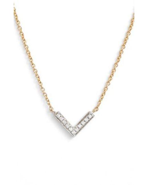 Dana Rebecca | Metallic 'sylvie Rose' Diamond V Pendant Necklace | Lyst
