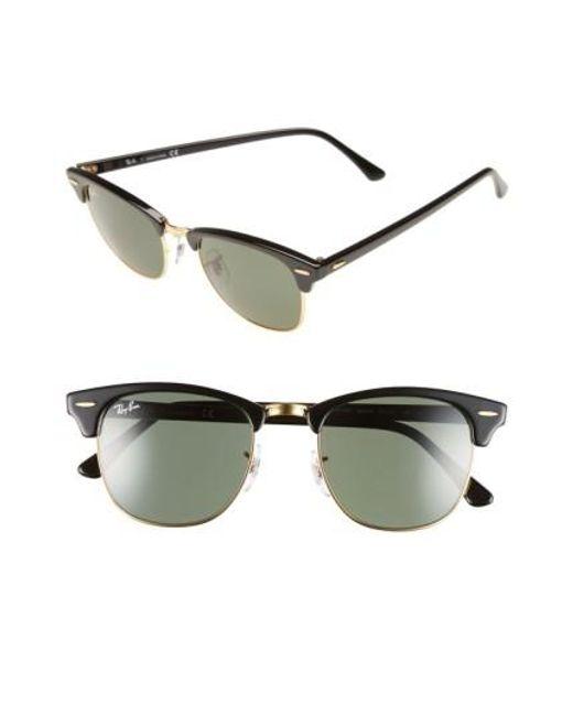 Ray-Ban | 'classic Clubmaster' 51mm Sunglasses - Dark Tortoise/ Green for Men | Lyst