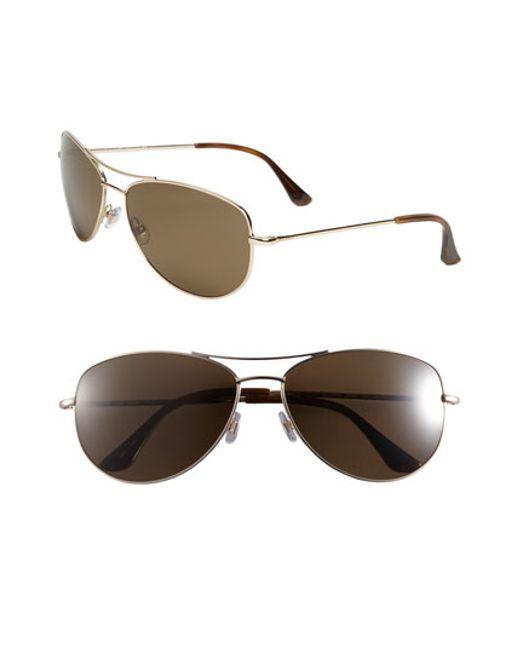 Kate Spade | Brown 'ally' 60mm Polarized Metal Aviator Sunglasses | Lyst