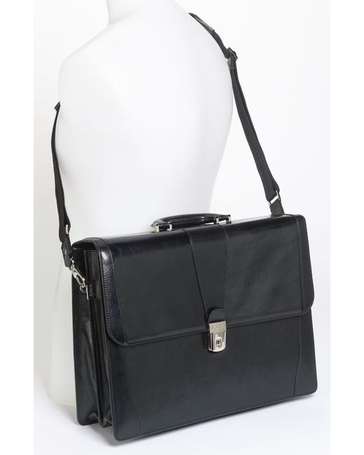Bosca Black Double Gusset Briefcase for men