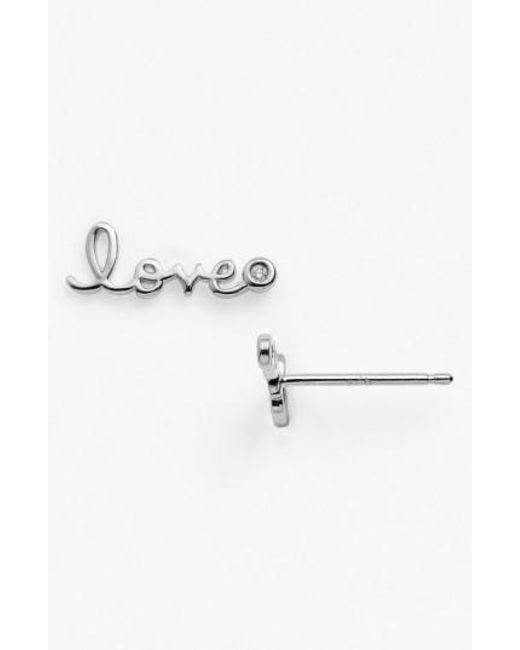 Shy By Sydney Evan | Metallic 'love' Diamond Stud Earrings | Lyst