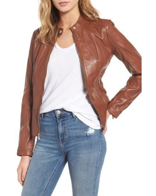 Guess | Multicolor Collarless Leather Moto Jacket | Lyst