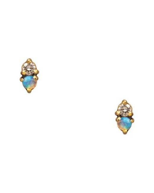 Wwake | Metallic Counting Collection Two Step Opal & Diamond Stud Earrings | Lyst
