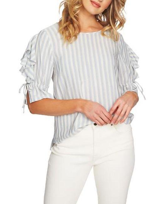 1.STATE - Gray Ruffle Sleeve Stripe Top - Lyst