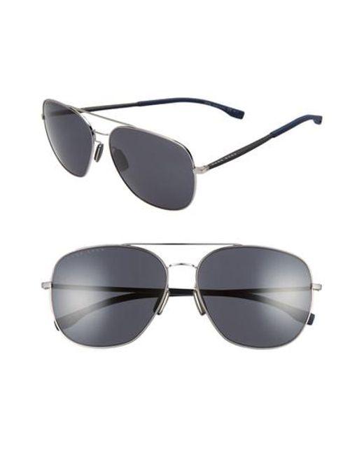 9d82d40f1a BOSS - Multicolor 62mm Polarized Special Fit Aviator Sunglasses - Ruthenium  for Men - Lyst
