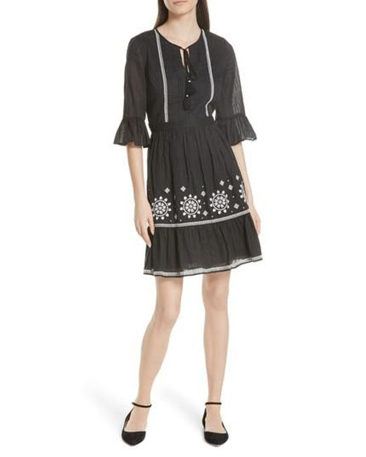 Kate Spade - Black Mosaic Embroidered Dress - Lyst