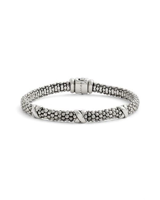 Lagos | Metallic 'signature Caviar' Mini Oval Rope Bracelet | Lyst