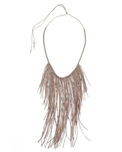 Serefina | Gray Glistening Fringe Necklace | Lyst