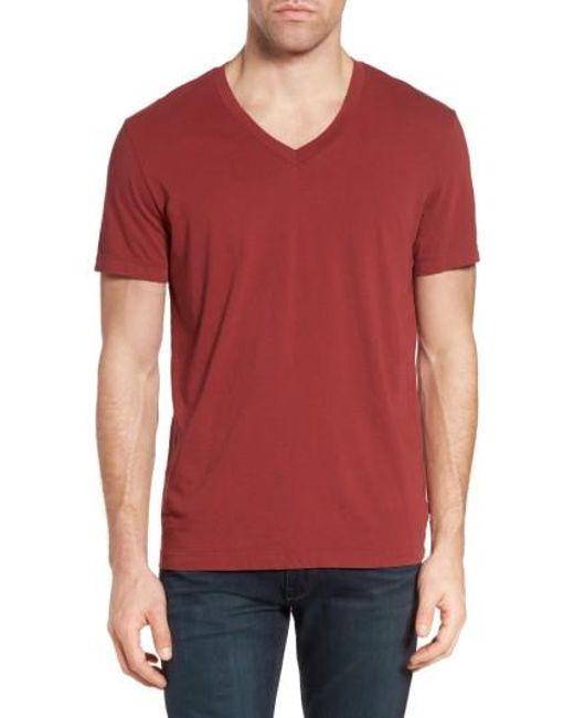 James Perse | Red Short Sleeve V-neck T-shirt for Men | Lyst