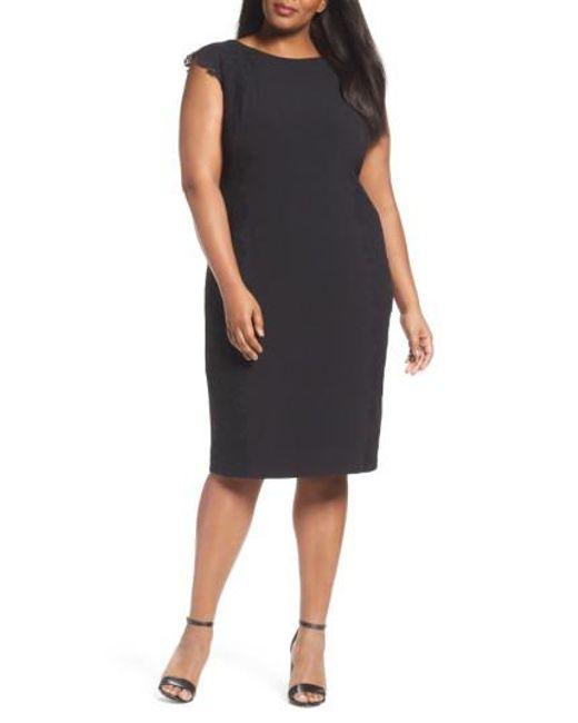 Maggy London - Black Lace Side Sheath Dress - Lyst
