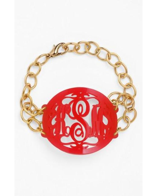 Moon & Lola | Red 'annabel' Large Oval Personalized Monogram Bracelet (nordstrom Exclusive) | Lyst