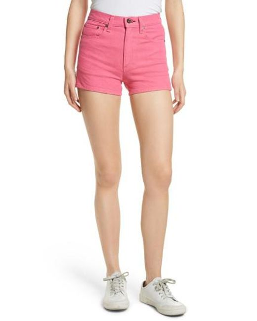 Rag & Bone - Pink Justine High Waist Denim Shorts - Lyst