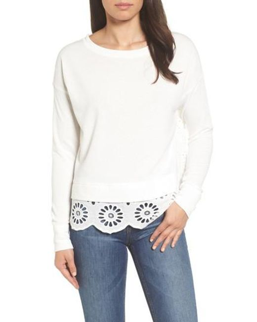 Caslon - White Caslon Eyelet Trim Sweatshirt - Lyst