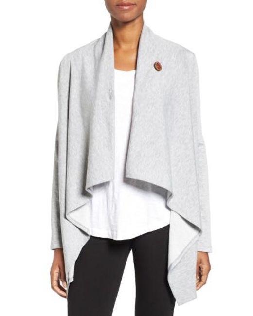 Bobeau - Gray One-Button Fleece Wrap Cardigan - Lyst